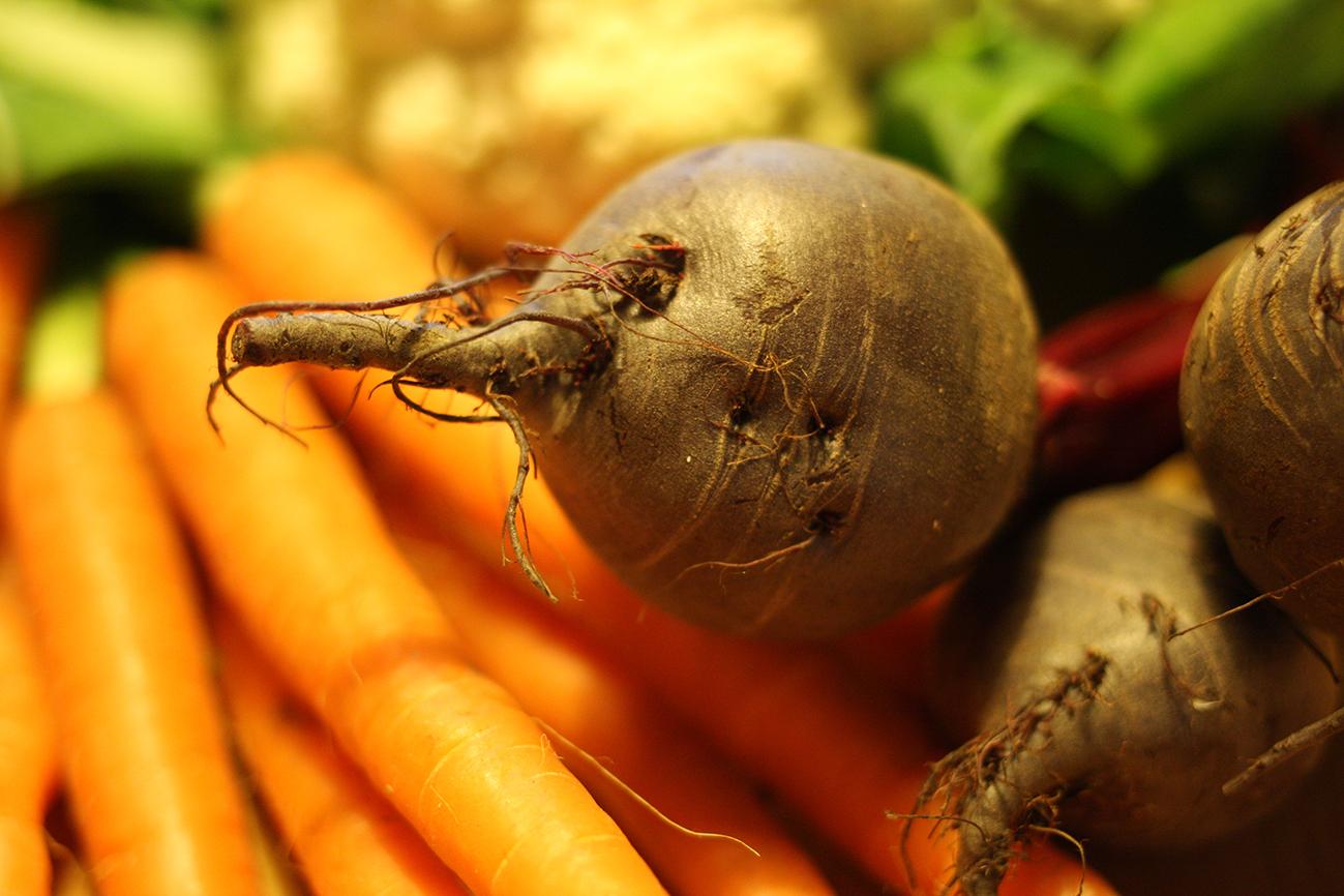 Rode biet, wortelen en bloemkool