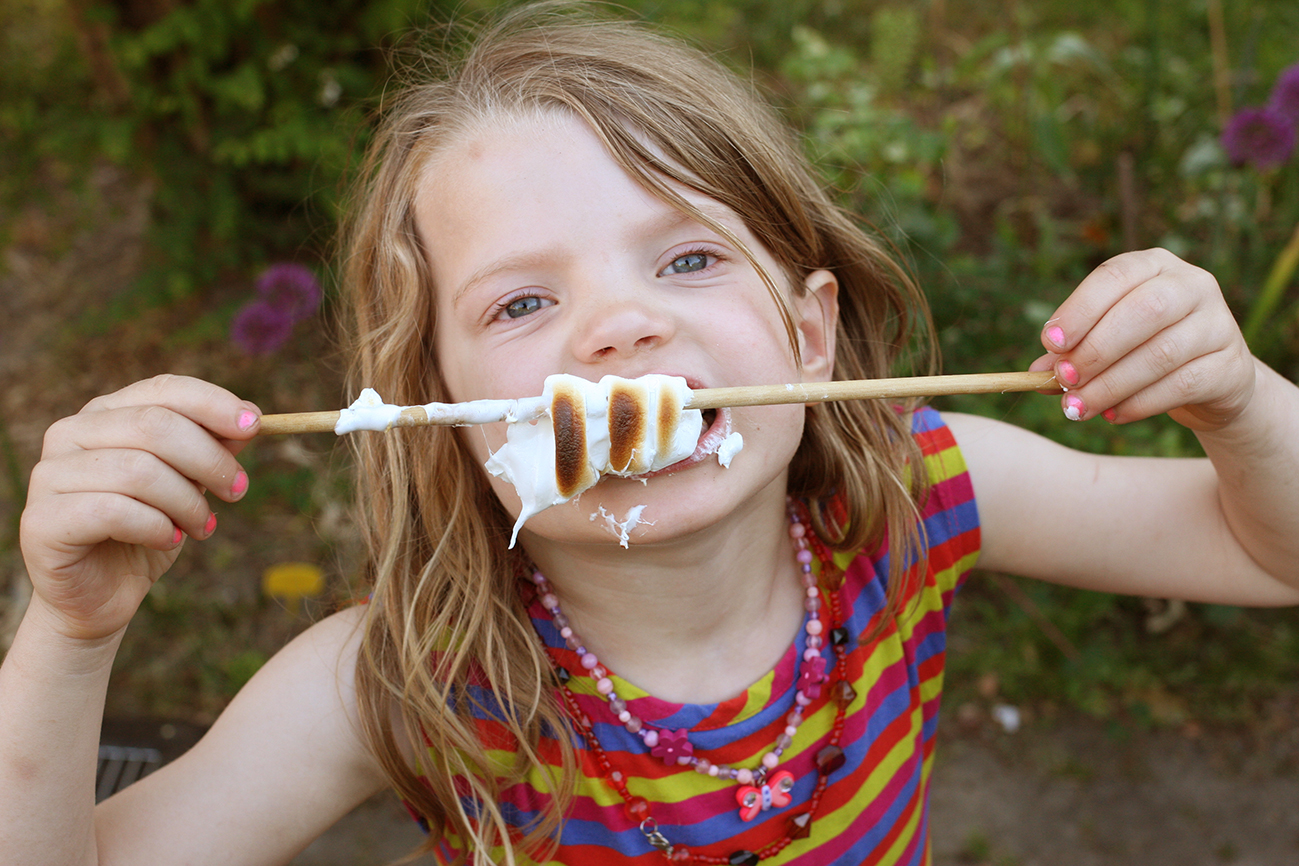 Marshmallows op een stokje